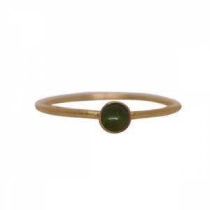 """Petit Point"" Green Jade Petit - Ring - Gold"