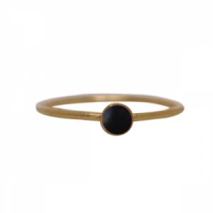 """Petit Point"" Onyx Petit - Ring - Gold"