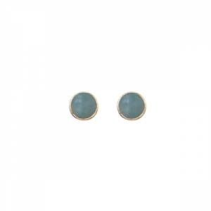 """""""Petit Point"""" Amazonit Petit - Stud Earring - Gold"""