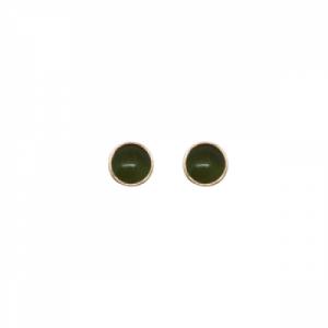 """Petit Point"" Green Jade Petit - Stud Earring - Gold"