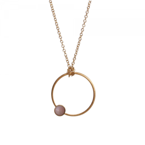 """Petit Point"" Pink Opal - Necklace - Gold"