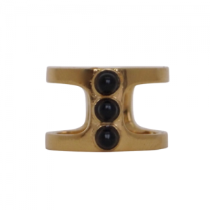 """Petit Point"" Onyx Orion - Ring - Gold"