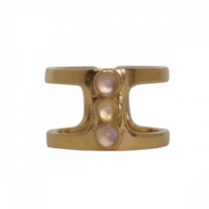 """Petit Point"" White Moonstone Orion - Ring - Gold"