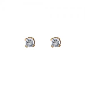 """Solitaire"" Diamond White (XS) - Stud Earring - 18 Karat Gold"