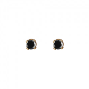"""Solitaire"" Diamond Black (XS) - Stud Earring - 18 Karat Gold"