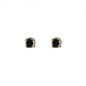 """Solitaire"" Diamond Black (XS) - Stud Earring - 18 Karat Gold"
