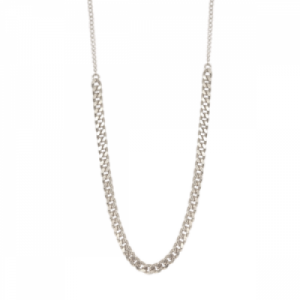 """Curb"" Long - Collier - Silver"