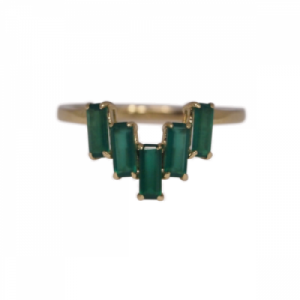 """Baguette"" Green Onyx Five - Ring - 18 Karat Gold"