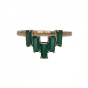 """Baguette"" Green Onyx Five - Ring - 18 Karat Gold"