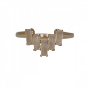 """Baguette"" Paper Moonstone Five - Ring - 18 Karat Gold"