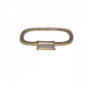 """Baguette"" Paper Moonstone Square - Ring - 18 Karat Gold"