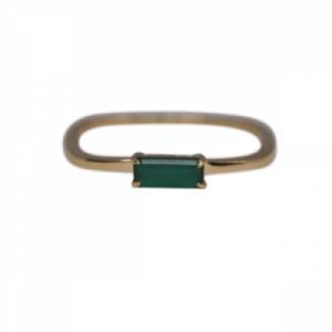 """Baguette"" Green Onyx Square - Ring - 18 Karat Gold"