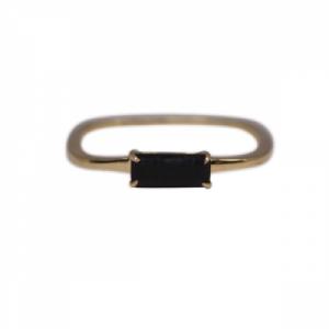 """Baguette"" Black Onyx Square - Ring - 18 Karat Gold"