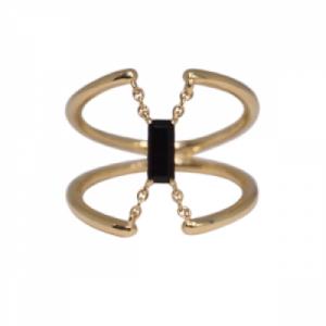 """Baguette"" Black Onyx Trapeze - Ring - 18 Karat Gold"