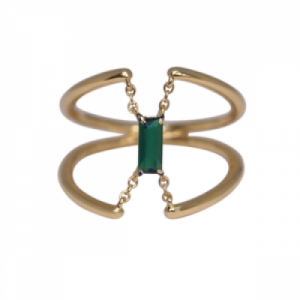 """Baguette"" Green Onyx Trapeze - Ring - 18 Karat Gold"