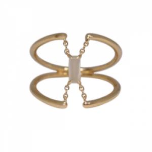 """Baguette"" Paper Moonstone Trapeze - Ring - 18 Karat Gold"