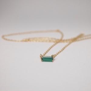 """Baguette"" Green Onyx One - Necklace - 18 Karat Gold"