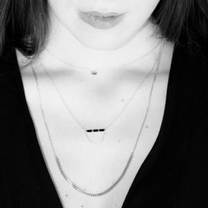 """Baguette"" Black Onyx Three - Necklace - 18 Karat Gold"