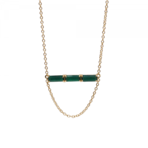 """Baguette"" Green Onyx Three - Necklace - 18 Karat Gold"