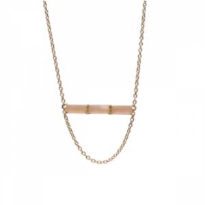 """Baguette"" Peach Moonstone Three - Necklace - 18 Karat Gold"
