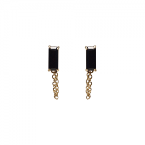 """BAGUETTE"" Black Onyx with chain - Stud Earring - 18 Karat Gold"