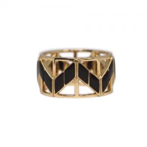 """Opalia"" Black Onyx Carousel - Ring - 18 Karat Gold"