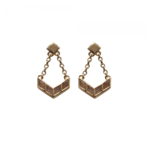 """Opalia"" Peach Moonstone Carousel - Stud Earring - 18 Karat Gold"
