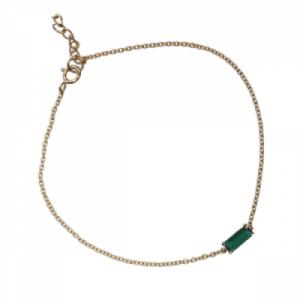 """Baguette"" Green Onyx One - Bracelet - 18 Karat Gold"