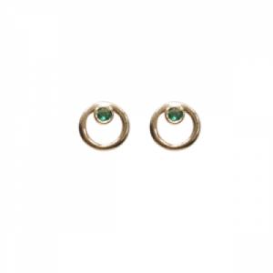 """Curvaceous"" Emerald - Stud Earring - 18 Karat Gold"