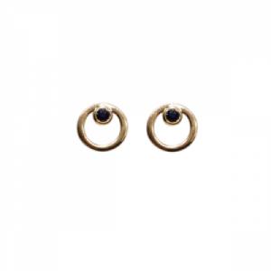 """Curvaceous"" Sapphire - Stud Earring - 18 Karat Gold"
