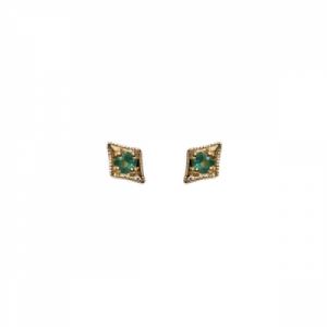 """Opalia"" Vintage Rhombus Emerald - Stud Earring - 18 Karat Gold"