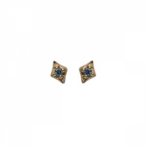 """""""Opalia"""" Vintage Rhombus Blue Diamond - Stud Earring - 18 Karat Gold"""