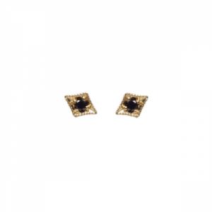"""""""Opalia"""" Vintage Rhombus Black Diamond - Stud Earring - 18 Karat Gold"""