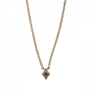 """Opalia"" Vintage Rhombus Blue Diamond - Necklace - 18 Karat Gold"
