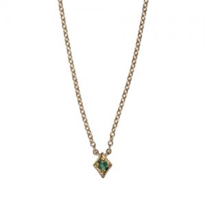 """Opalia"" Vintage Rhombus Emerald - Necklace - 18 Karat Gold"