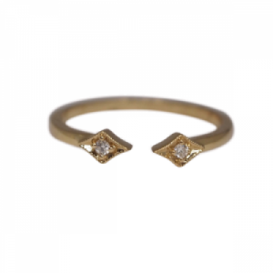 """Opalia"" Vintage Rhombus White Diamond - Ring - 18 Karat Gold"