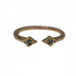 """Opalia"" Vintage Rhombus Blue Diamond - Ring - 18 Karat Gold"
