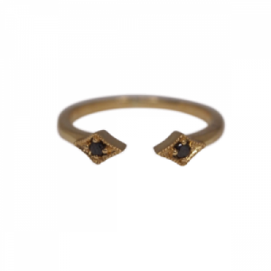 """Opalia"" Vintage Rhombus Black Diamond - Ring - 18 Karat Gold"