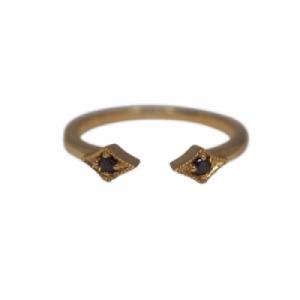 """Opalia"" Vintage Rhombus Black Diamond - Ring - 18 Karat Gold"