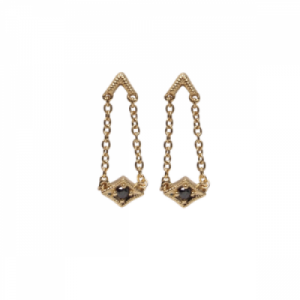 """Opalia"" Vintage Rhombus Black Diamond long - Stud Earring - 18 Kara.."