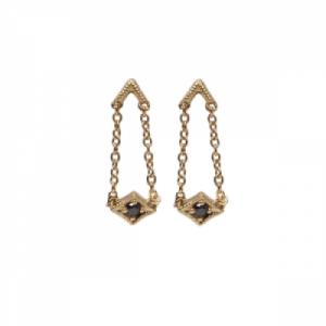 """""""Opalia"""" Vintage Rhombus Black Diamond long - Stud Earring - 18 Kara.."""