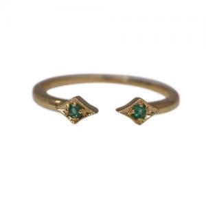 """Opalia"" Vintage Rhombus Emerald - Ring - 18 Karat Gold"