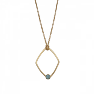 """Petit Point"" Amazonite Rhombus - Necklace - Gold"