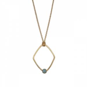 """""""Petit Point"""" Amazonite Rhombus - Necklace - Gold"""