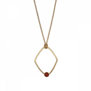 """Petit Point"" Coral Rhombus - Necklace - Gold"