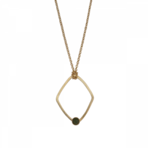 """Petit Point"" Green Jade Rhombus - Necklace - Gold"