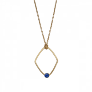 """Petit Point"" Lapislazuli Rhombus - Necklace - Gold"