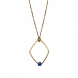 """Petit Point"" Lapislazuli Rhombus - Necklace - Gold"