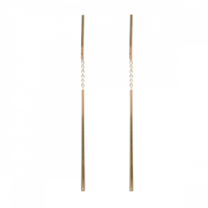 """Stripes & Joist"" Bar Double - Stud Earring - Gold"
