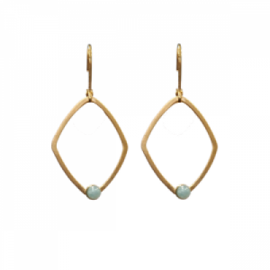 """Petit Point"" Amazonite Rhombus - Brisur Earring - Gold"